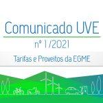 Comunicado nº 1/2021 | Tarifas e Proveitos da EGME